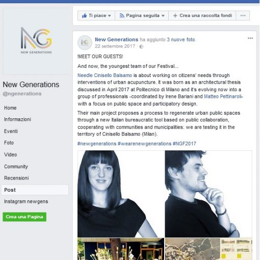 Post facebook di New Generations