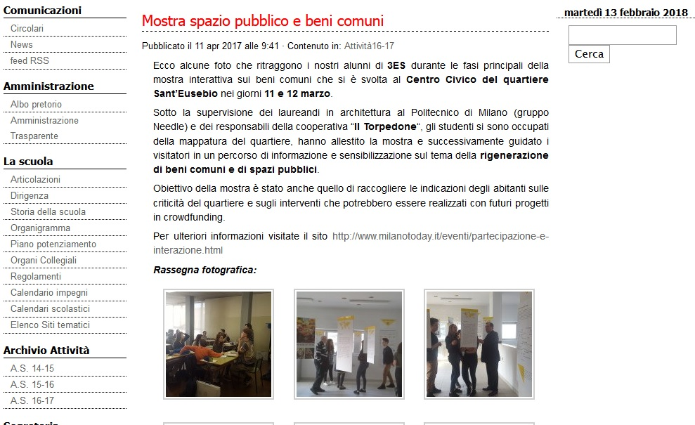 Schermata articolo dal sito del Liceo Casiraghi