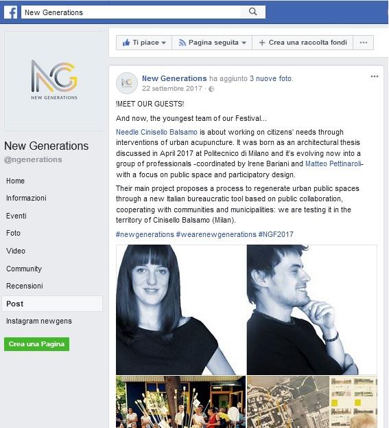 Screenshot del post su facebook di New Generations