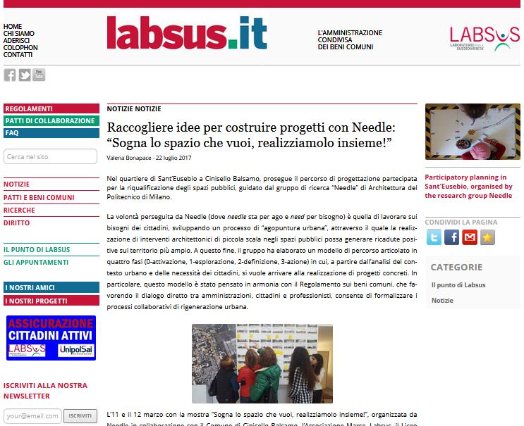 Schermata dell'articolo con intervista su Labsus.org